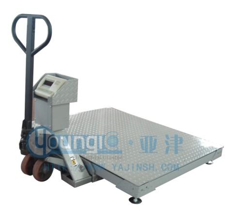 亚津电子秤,带叉车移动地磅,搬运移动平台秤