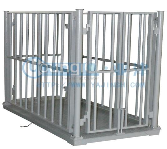 1T碳钢牲畜秤,亚津带围栏动物地磅
